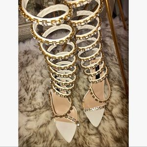 Peace + Love Nasty Gal White Rhinestone gold Heels
